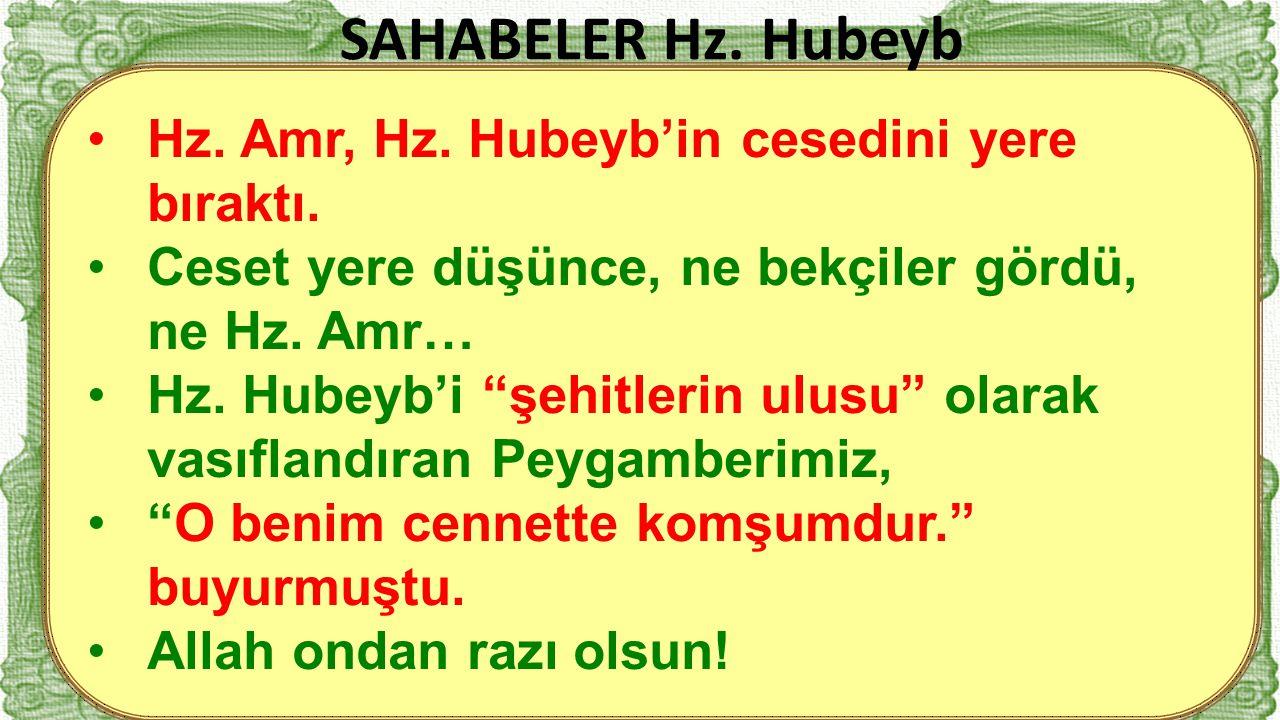 SAHABELER Hz. Hubeyb Hz. Amr, Hz. Hubeyb'in cesedini yere bıraktı.