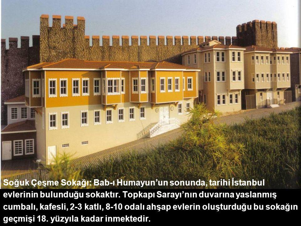 Soğuk Çeşme Sokağı: Bab-ı Humayun'un sonunda, tarihi İstanbul evlerinin bulunduğu sokaktır. Topkapı Sarayı'nın duvarına yaslanmış cumbalı, kafesli, 2-3 katlı, 8-10 odalı ahşap evlerin oluşturduğu bu sokağın geçmişi 18. yüzyıla kadar inmektedir.