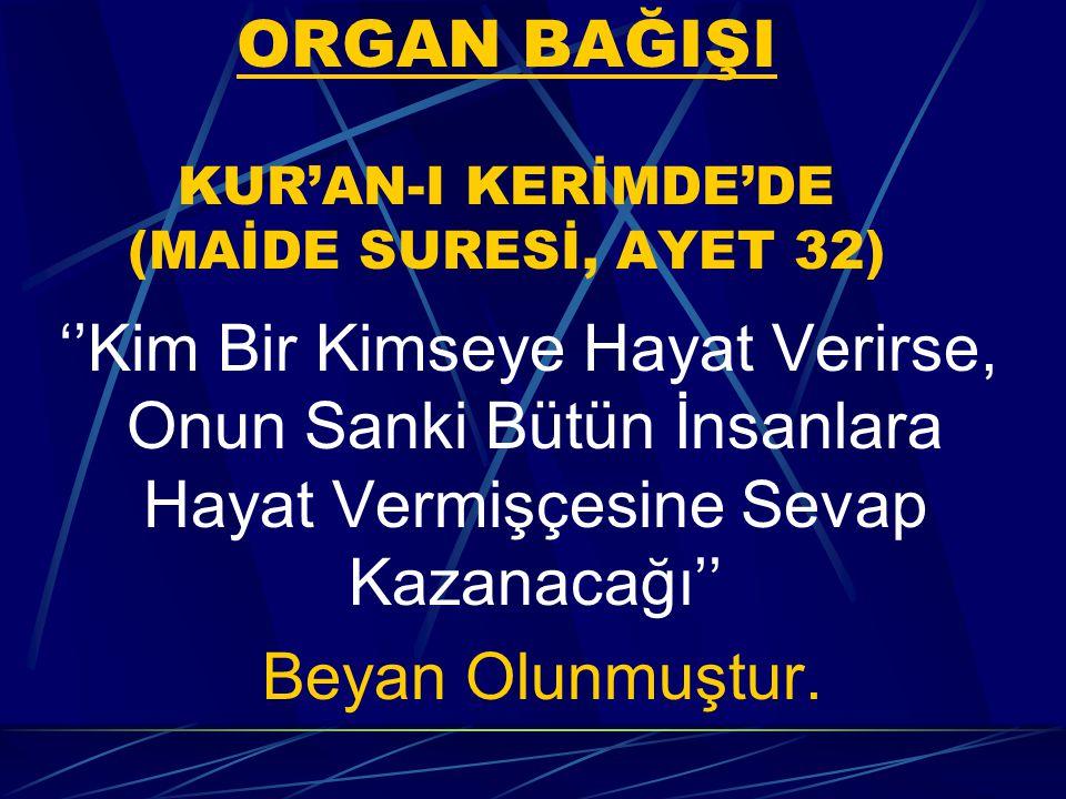 ORGAN BAĞIŞI KUR'AN-I KERİMDE'DE (MAİDE SURESİ, AYET 32)