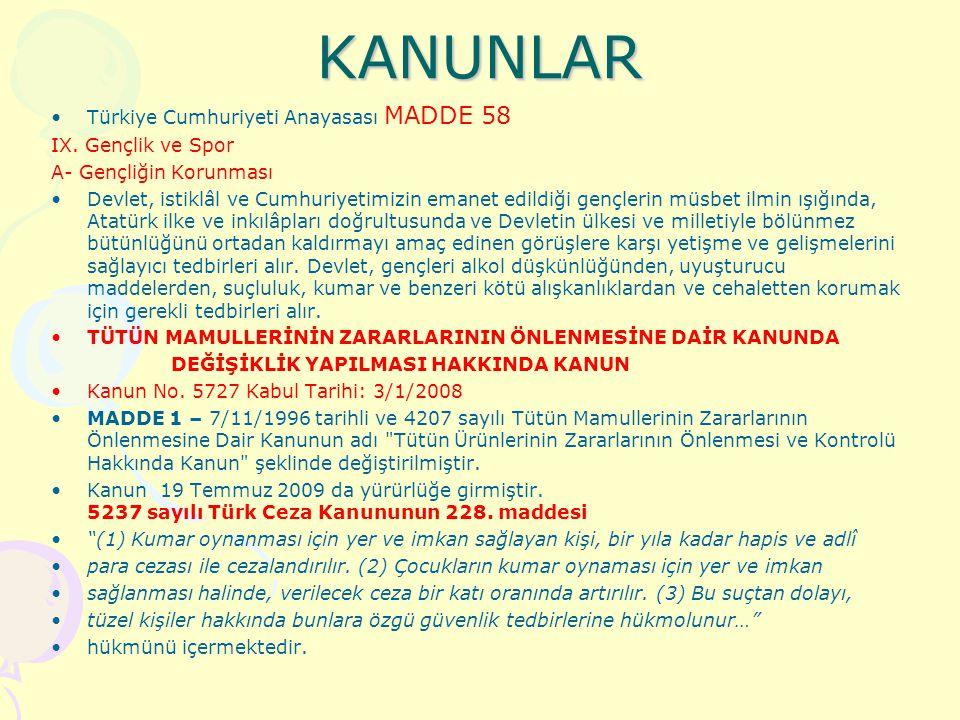 KANUNLAR Türkiye Cumhuriyeti Anayasası MADDE 58 IX. Gençlik ve Spor