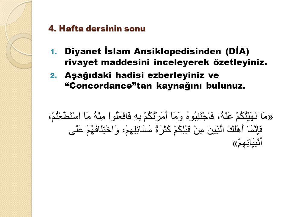 4. Hafta dersinin sonu Diyanet İslam Ansiklopedisinden (DİA) rivayet maddesini inceleyerek özetleyiniz.