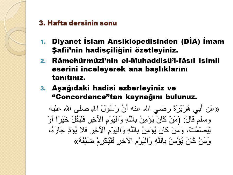 3. Hafta dersinin sonu Diyanet İslam Ansiklopedisinden (DİA) İmam Şafiî'nin hadisçiliğini özetleyiniz.