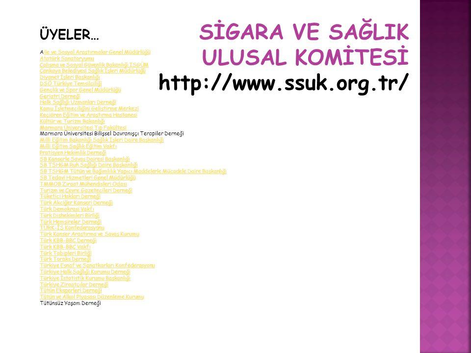 SİGARA VE SAĞLIK ULUSAL KOMİTESİ http://www.ssuk.org.tr/