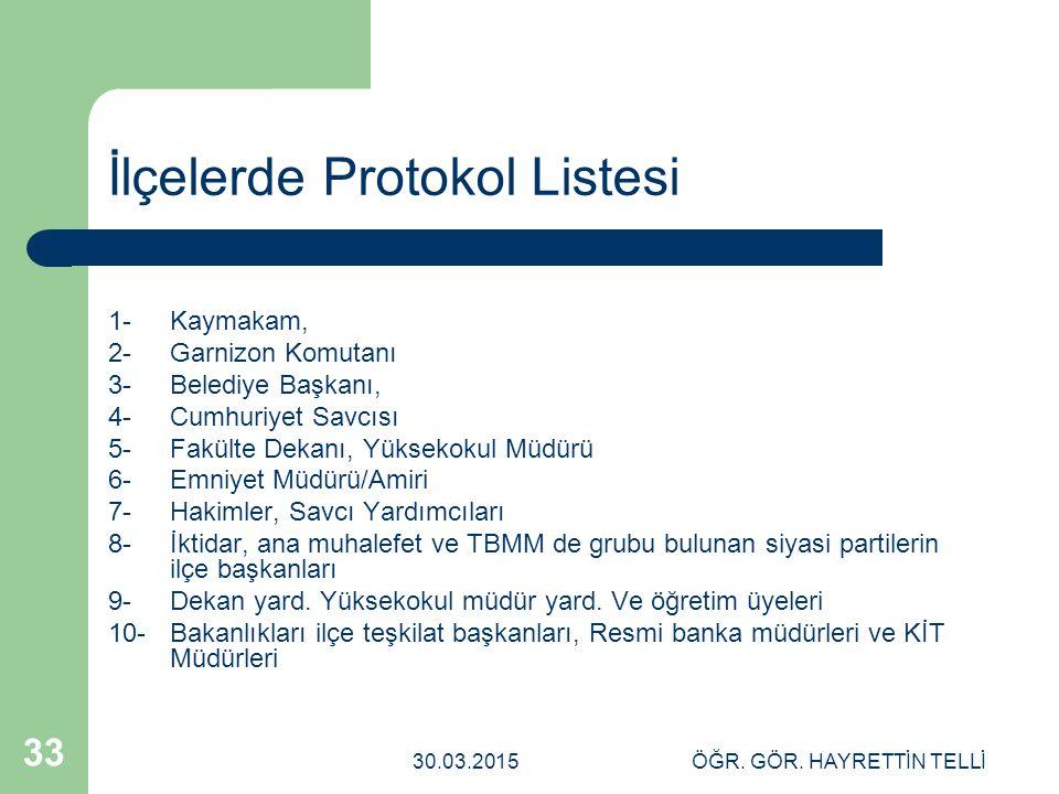 İlçelerde Protokol Listesi