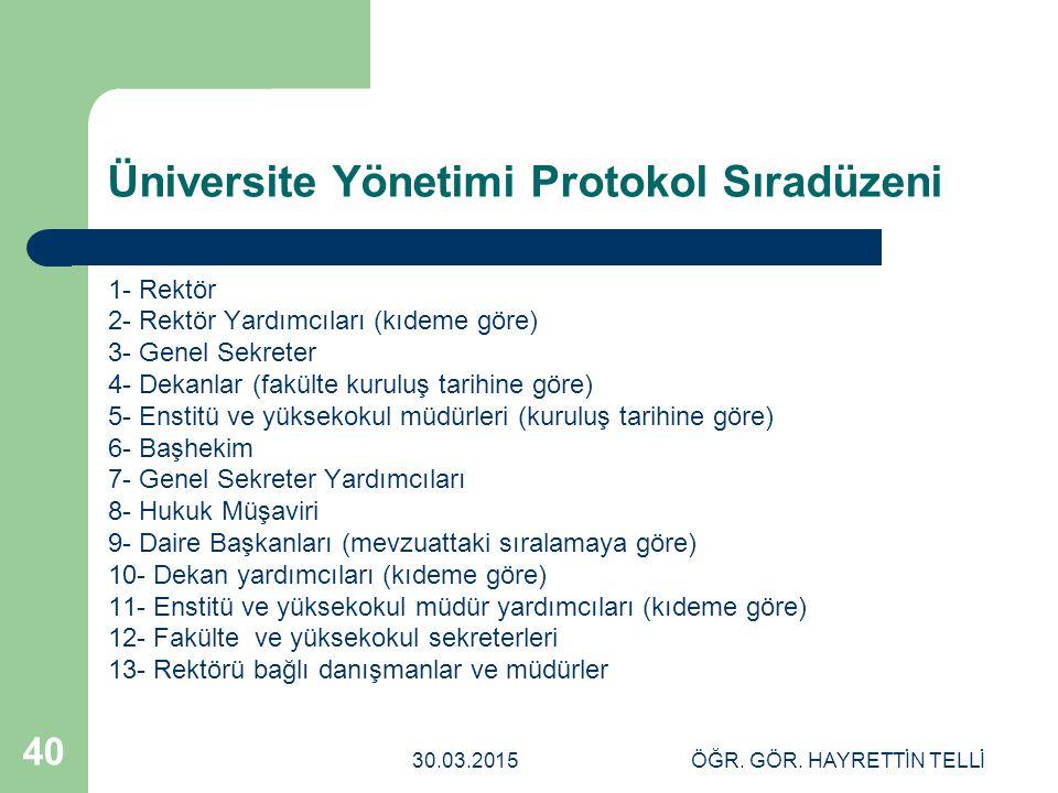Üniversite Yönetimi Protokol Sıradüzeni
