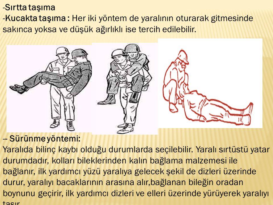 Sırtta taşıma Kucakta taşıma : Her iki yöntem de yaralının oturarak gitmesinde sakınca yoksa ve düşük ağırlıklı ise tercih edilebilir.