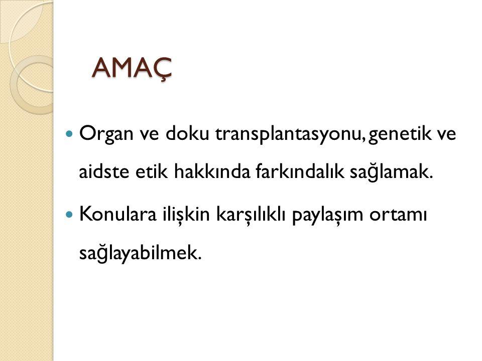 AMAÇ Organ ve doku transplantasyonu, genetik ve aidste etik hakkında farkındalık sağlamak.
