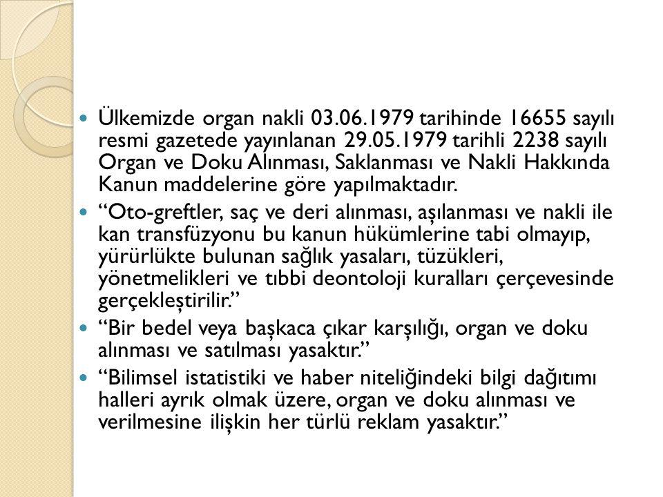 Ülkemizde organ nakli 03.06.1979 tarihinde 16655 sayılı resmi gazetede yayınlanan 29.05.1979 tarihli 2238 sayılı Organ ve Doku Alınması, Saklanması ve Nakli Hakkında Kanun maddelerine göre yapılmaktadır.
