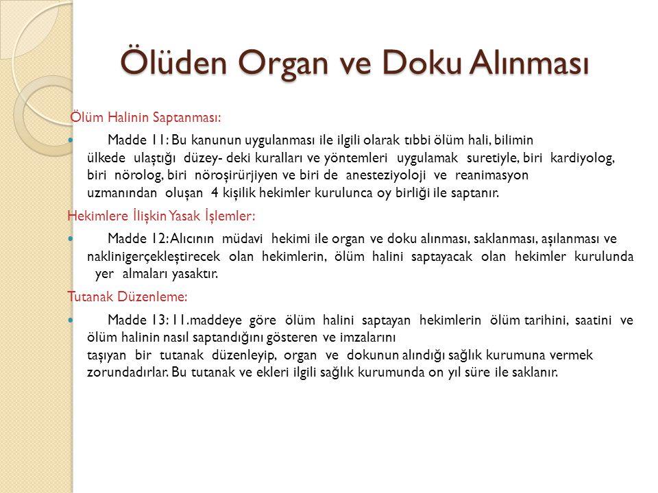 Ölüden Organ ve Doku Alınması
