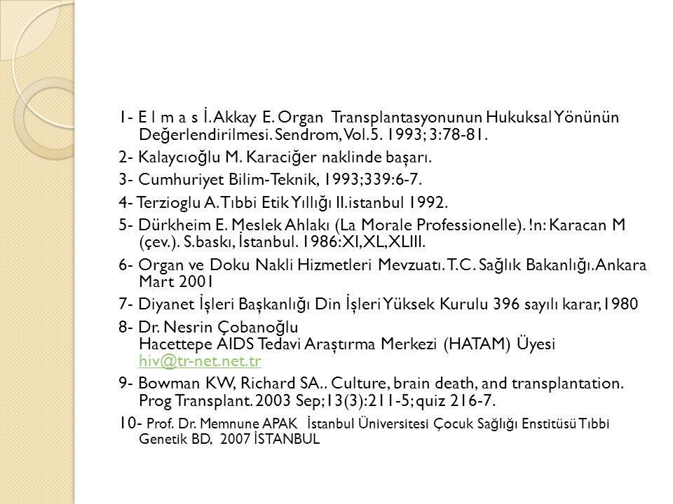 1- E l m a s İ. Akkay E. Organ Transplantasyonunun Hukuksal Yönünün Değerlendirilmesi.