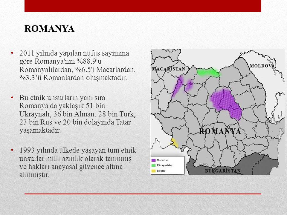 ROMANYA 2011 yılında yapılan nüfus sayımına göre Romanya nın %88.9 u Romanyalılardan, %6.5 i Macarlardan, %3.3'ü Romanlardan oluşmaktadır.
