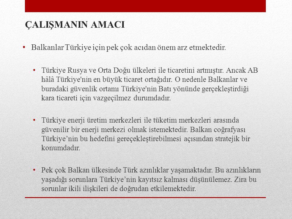 ÇALIŞMANIN AMACI Balkanlar Türkiye için pek çok acıdan önem arz etmektedir.