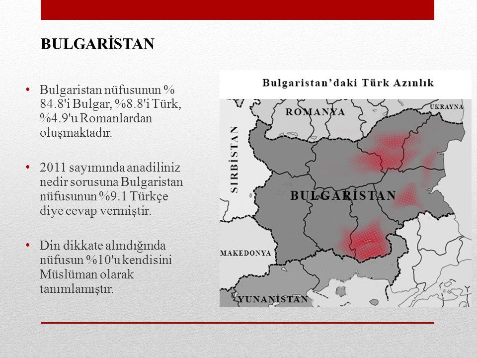 BULGARİSTAN Bulgaristan nüfusunun % 84.8 i Bulgar, %8.8 i Türk, %4.9 u Romanlardan oluşmaktadır.