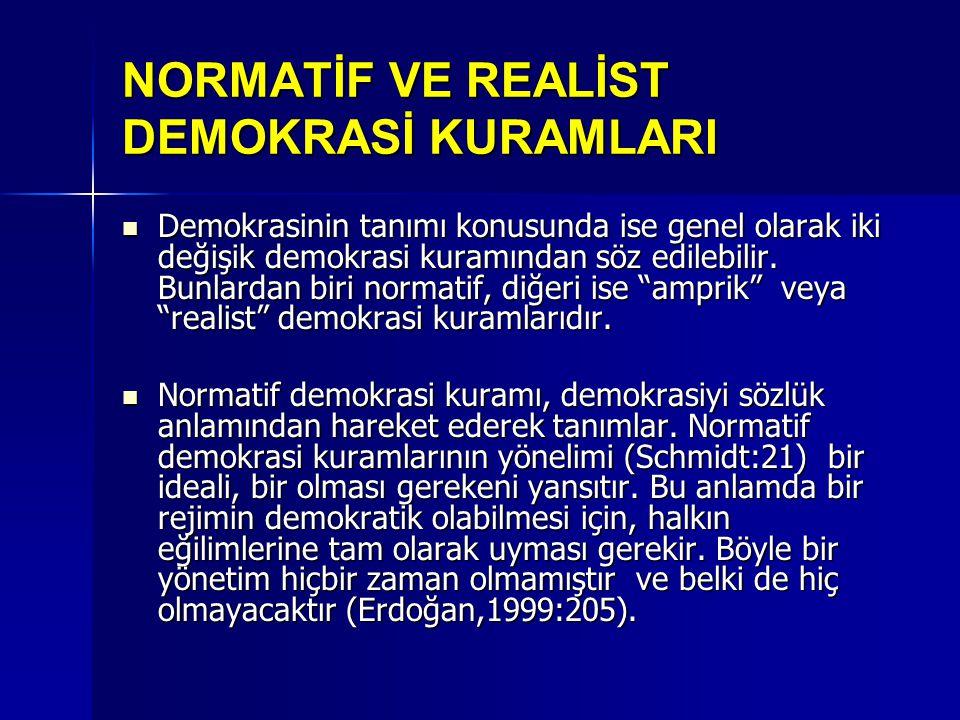 NORMATİF VE REALİST DEMOKRASİ KURAMLARI