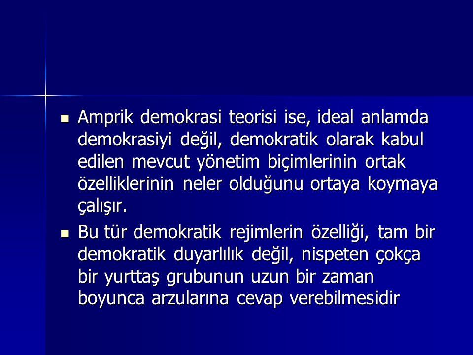 Amprik demokrasi teorisi ise, ideal anlamda demokrasiyi değil, demokratik olarak kabul edilen mevcut yönetim biçimlerinin ortak özelliklerinin neler olduğunu ortaya koymaya çalışır.