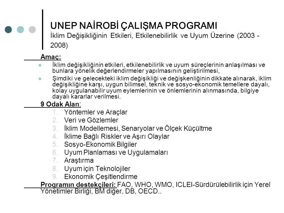 UNEP NAİROBİ ÇALIŞMA PROGRAMI İklim Değişikliğinin Etkileri, Etkilenebilirlik ve Uyum Üzerine (2003 -2008)
