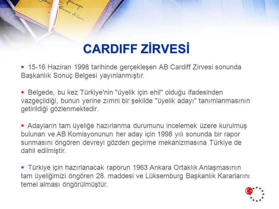 CARDIFF ZİRVESİ 15-16 Haziran 1998 tarihinde gerçekleşen AB Cardiff Zirvesi sonunda Başkanlık Sonuç Belgesi yayınlanmıştır.