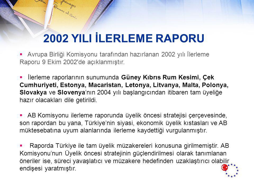2002 YILI İLERLEME RAPORU Avrupa Birliği Komisyonu tarafından hazırlanan 2002 yılı İlerleme Raporu 9 Ekim 2002 de açıklanmıştır.