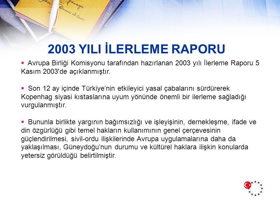 2003 YILI İLERLEME RAPORU Avrupa Birliği Komisyonu tarafından hazırlanan 2003 yılı İlerleme Raporu 5 Kasım 2003 de açıklanmıştır.