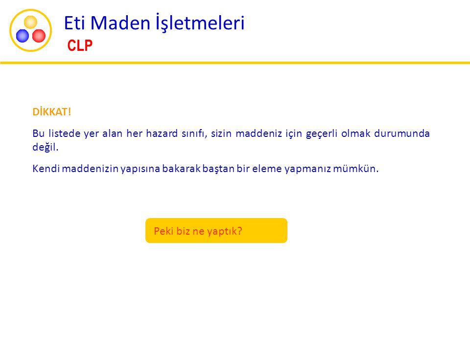 Eti Maden İşletmeleri CLP DİKKAT!