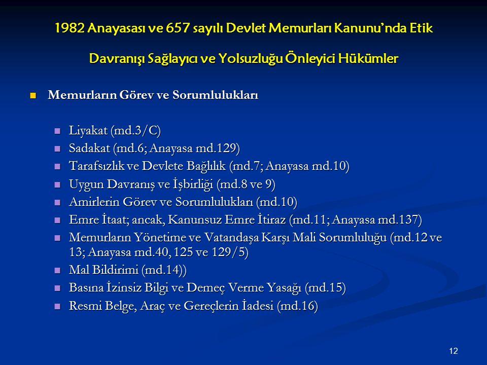 1982 Anayasası ve 657 sayılı Devlet Memurları Kanunu'nda Etik Davranışı Sağlayıcı ve Yolsuzluğu Önleyici Hükümler