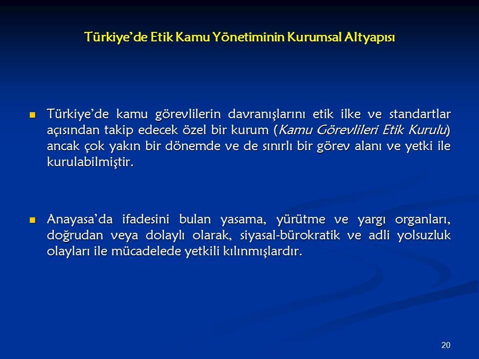 Türkiye'de Etik Kamu Yönetiminin Kurumsal Altyapısı