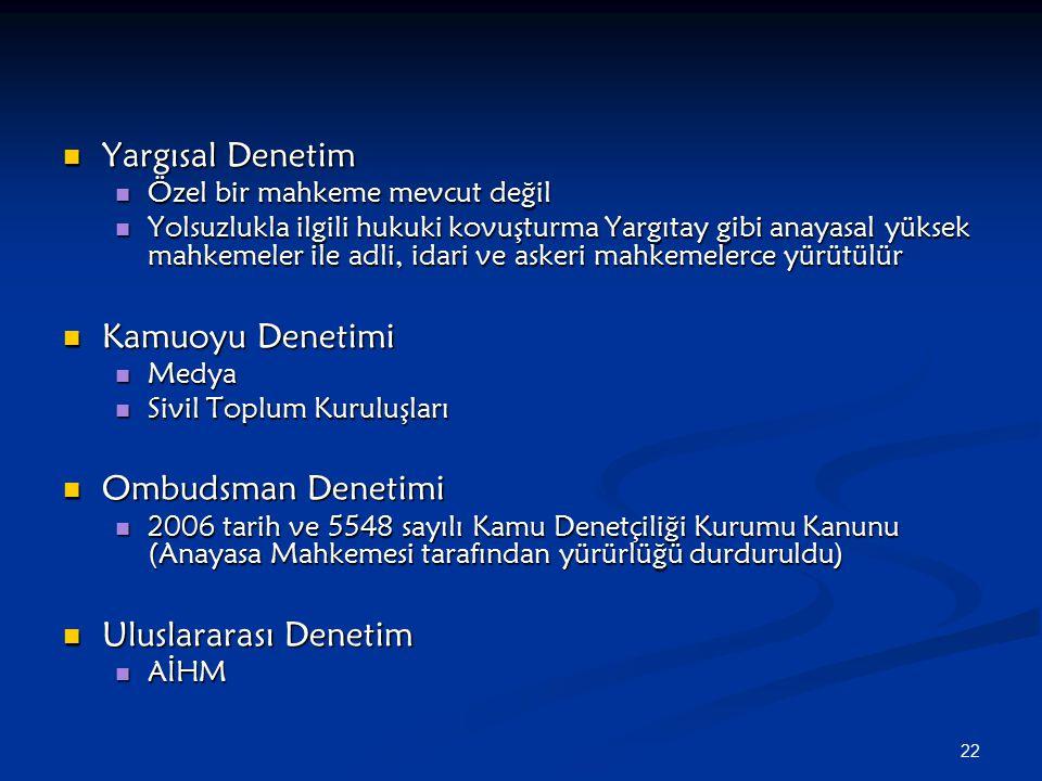 Yargısal Denetim Kamuoyu Denetimi Ombudsman Denetimi