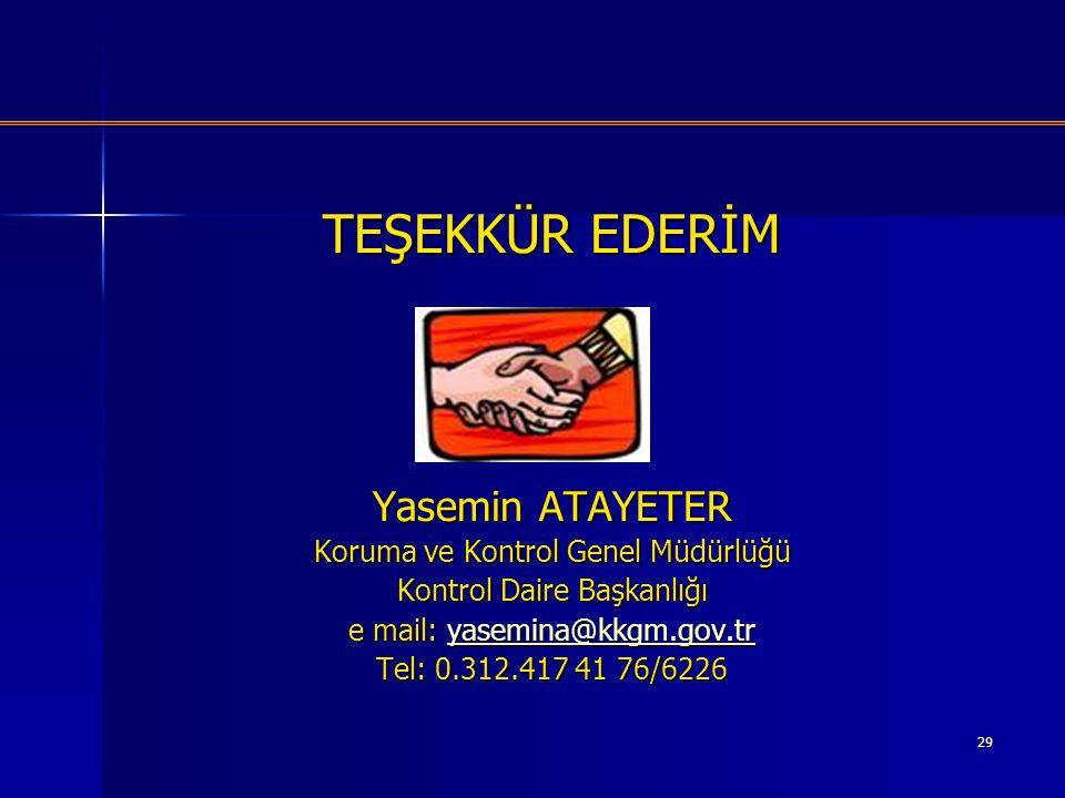 TEŞEKKÜR EDERİM Yasemin ATAYETER Koruma ve Kontrol Genel Müdürlüğü