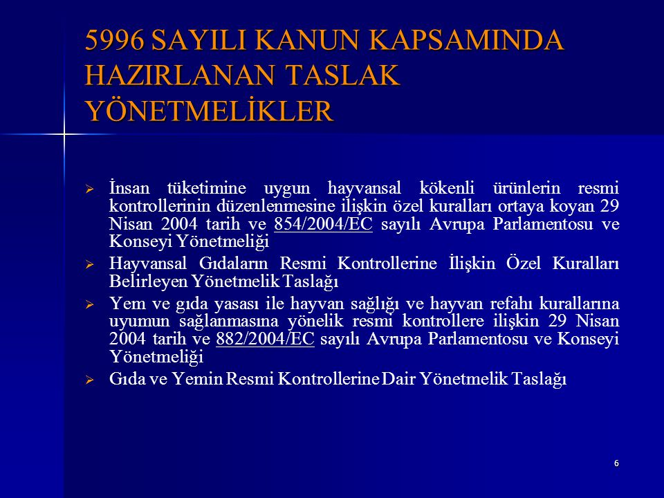 5996 SAYILI KANUN KAPSAMINDA HAZIRLANAN TASLAK YÖNETMELİKLER