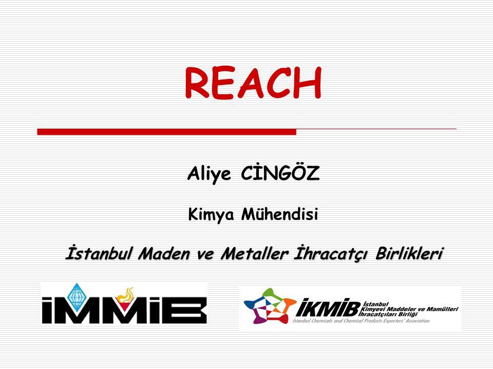 REACH Aliye CİNGÖZ Kimya Mühendisi İstanbul Maden ve Metaller İhracatçı Birlikleri