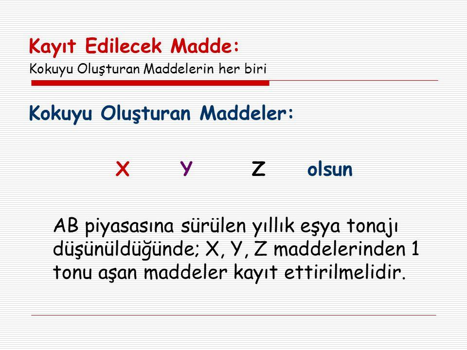 Kokuyu Oluşturan Maddeler: X Y Z olsun