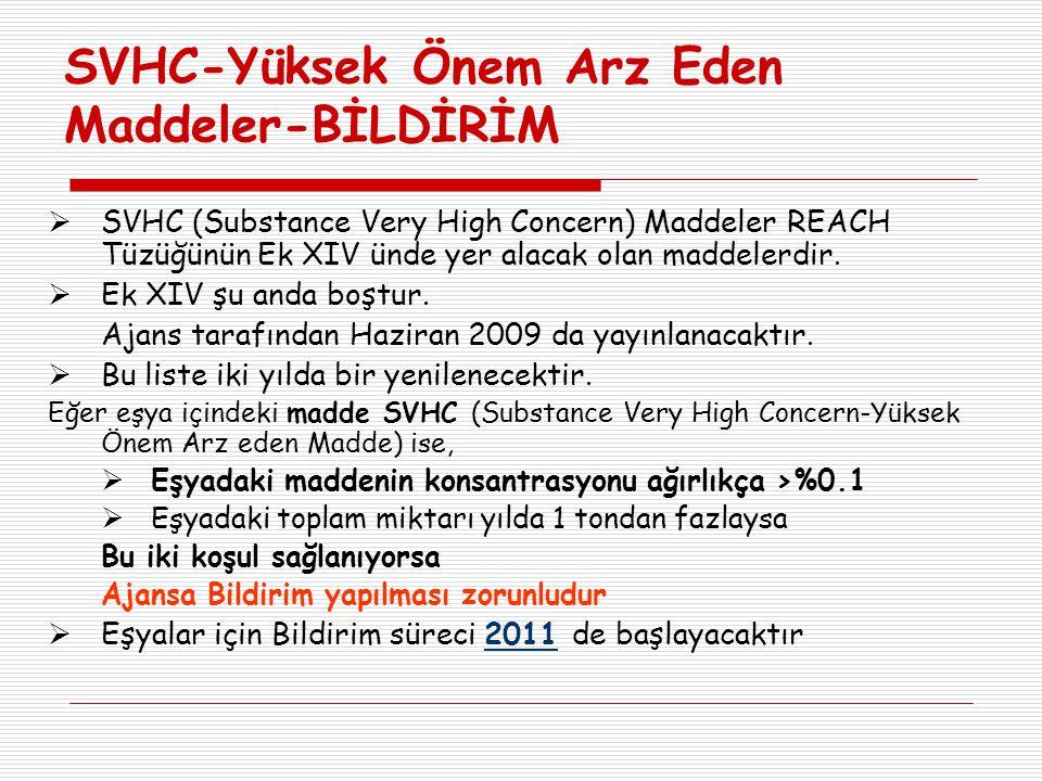 SVHC-Yüksek Önem Arz Eden Maddeler-BİLDİRİM