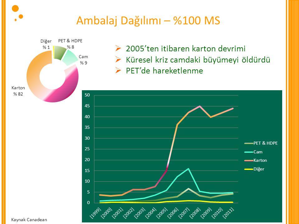 Ambalaj Dağılımı – %100 MS 2005'ten itibaren karton devrimi