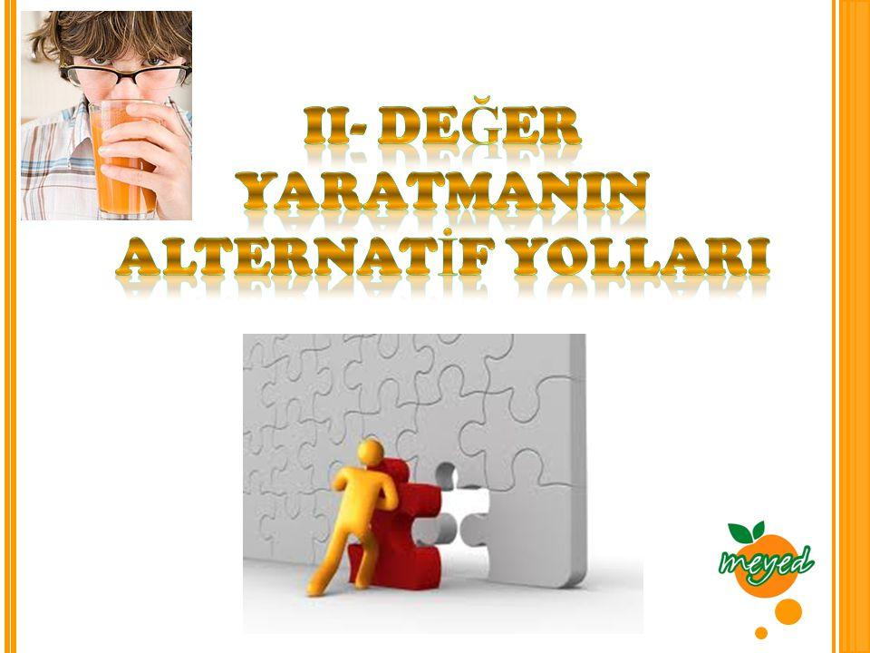 II- DEĞER YARATMANIN ALTERNATİF YOLLARI