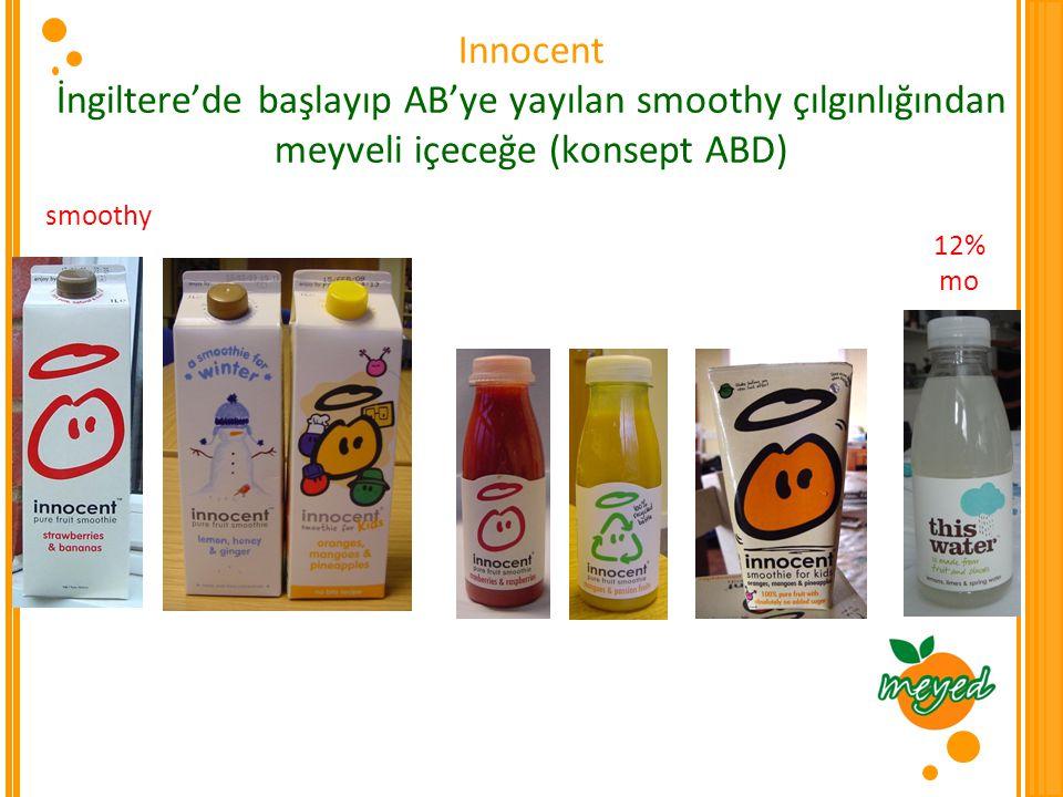 Innocent İngiltere'de başlayıp AB'ye yayılan smoothy çılgınlığından meyveli içeceğe (konsept ABD)