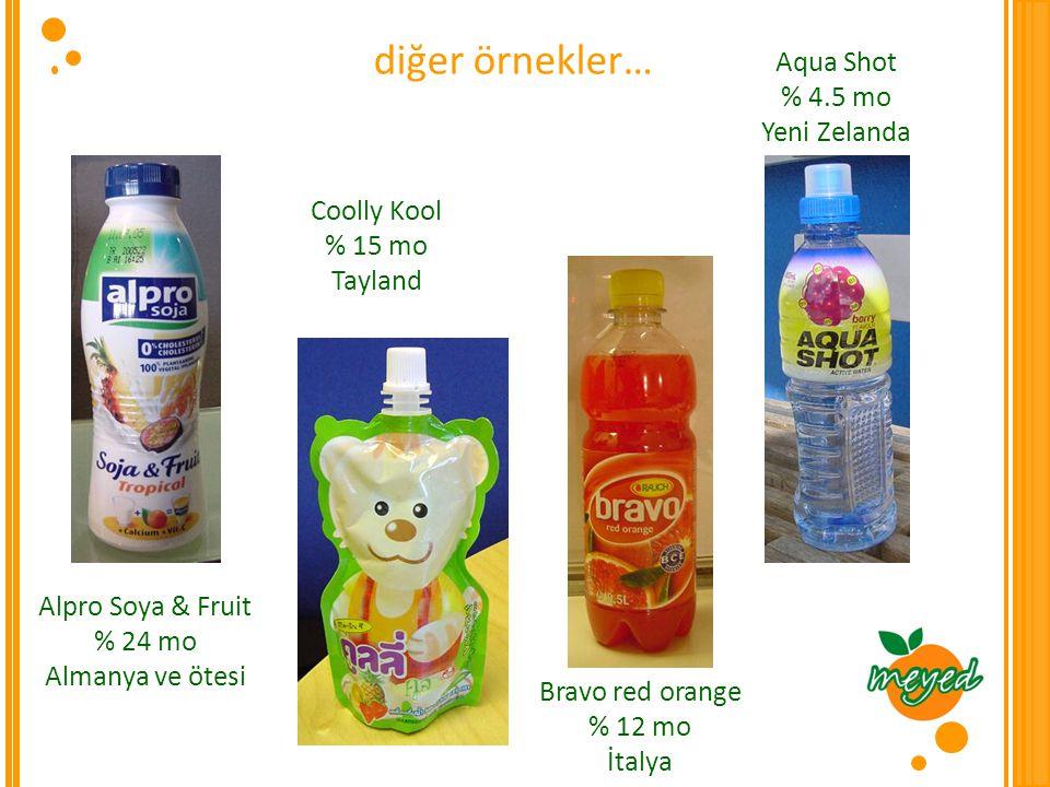 diğer örnekler… Aqua Shot % 4.5 mo Yeni Zelanda Coolly Kool % 15 mo