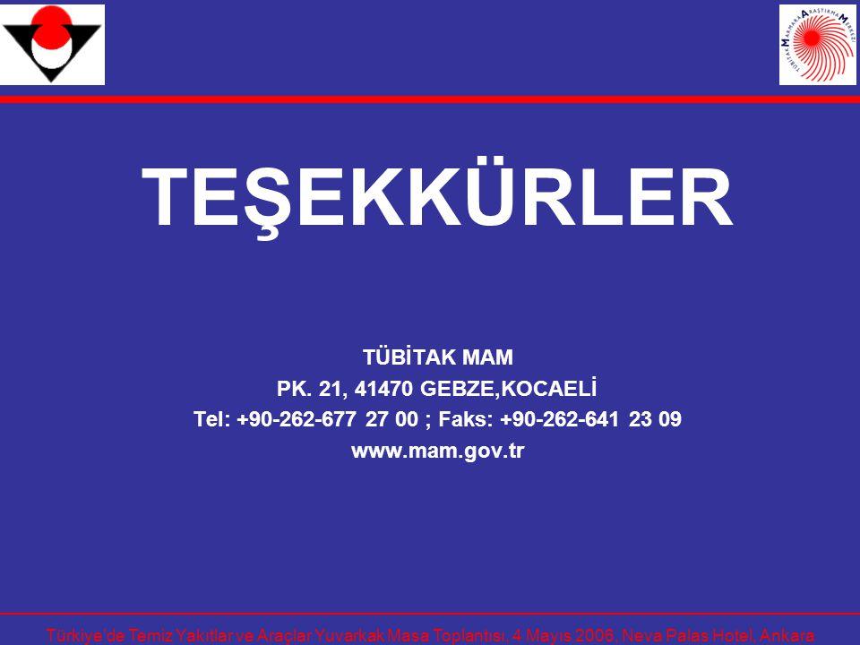 TEŞEKKÜRLER TÜBİTAK MAM PK. 21, 41470 GEBZE,KOCAELİ