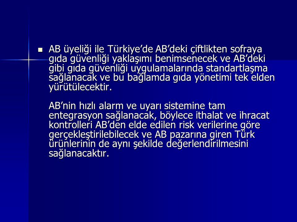 AB üyeliği ile Türkiye'de AB'deki çiftlikten sofraya gıda güvenliği yaklaşımı benimsenecek ve AB'deki gibi gıda güvenliği uygulamalarında standartlaşma sağlanacak ve bu bağlamda gıda yönetimi tek elden yürütülecektir.