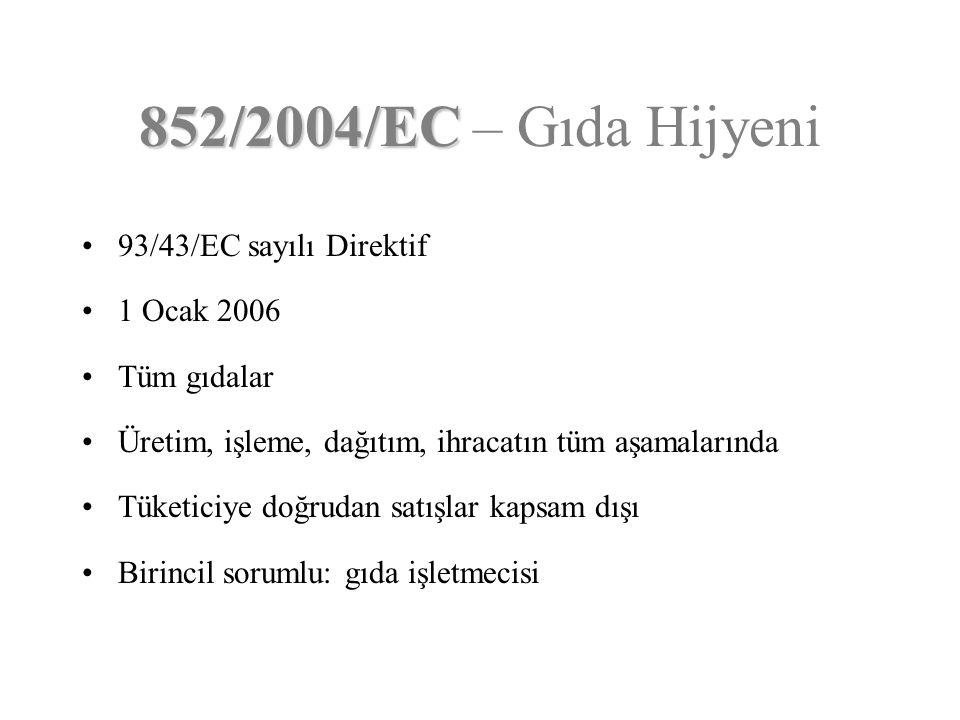 852/2004/EC – Gıda Hijyeni 93/43/EC sayılı Direktif 1 Ocak 2006