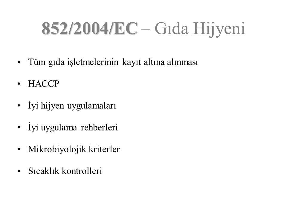 852/2004/EC – Gıda Hijyeni Tüm gıda işletmelerinin kayıt altına alınması. HACCP. İyi hijyen uygulamaları.