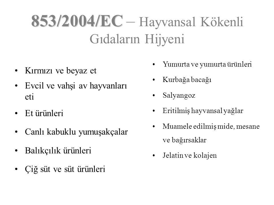 853/2004/EC – Hayvansal Kökenli Gıdaların Hijyeni