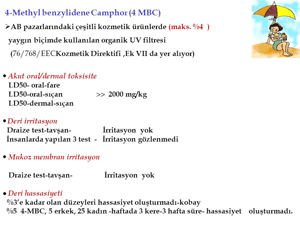 4-Methyl benzylidene Camphor (4 MBC)