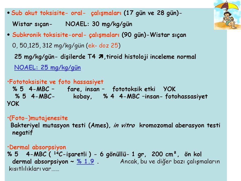 Sub akut toksisite- oral- çalışmaları (17 gün ve 28 gün)-