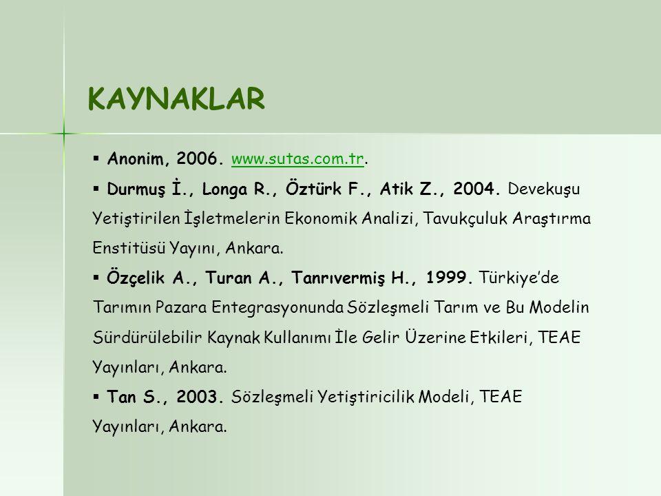 KAYNAKLAR Anonim, 2006. www.sutas.com.tr.