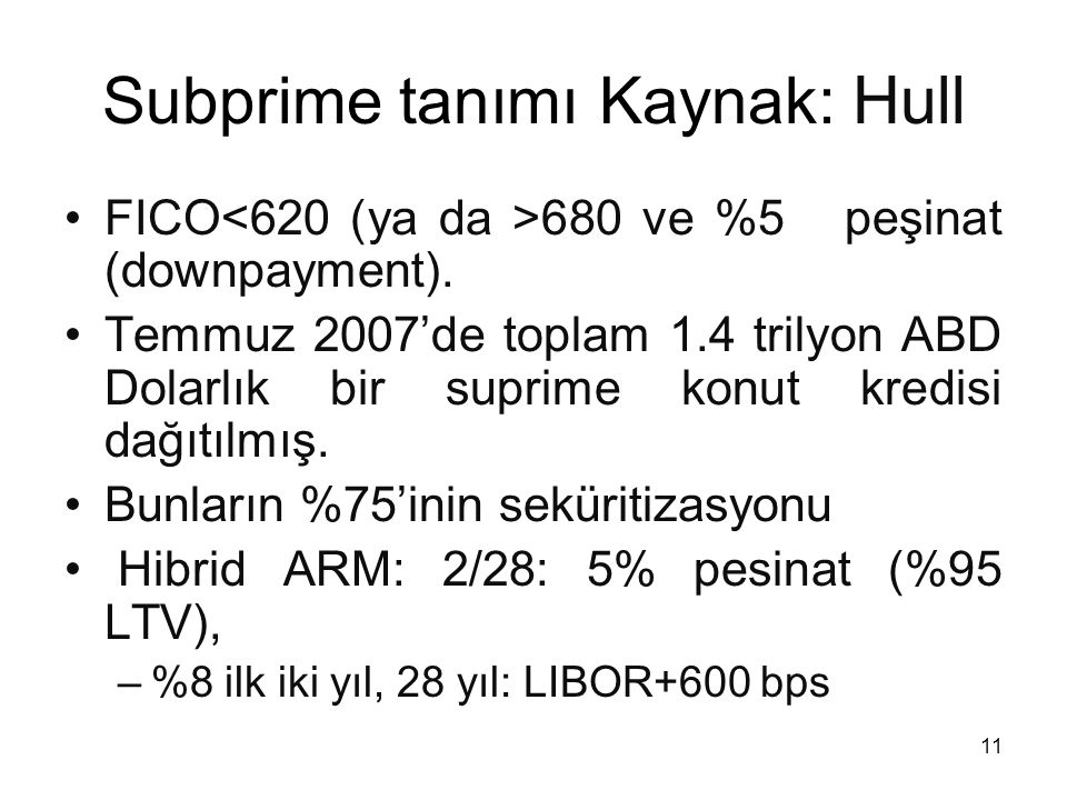 Subprime tanımı Kaynak: Hull