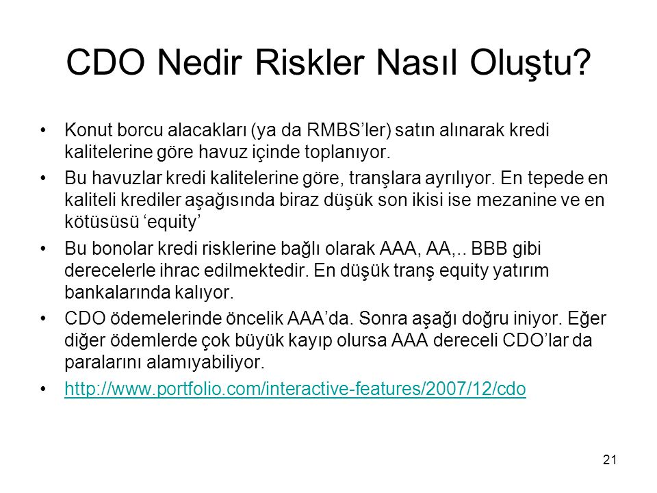 CDO Nedir Riskler Nasıl Oluştu