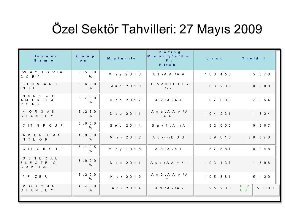Özel Sektör Tahvilleri: 27 Mayıs 2009