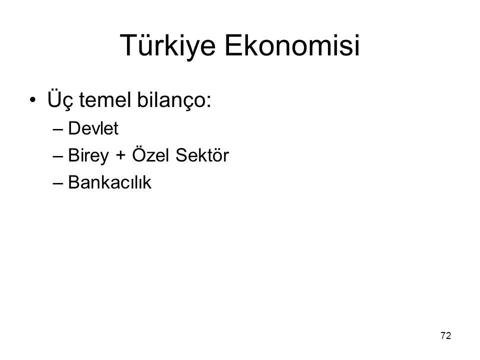 Türkiye Ekonomisi Üç temel bilanço: Devlet Birey + Özel Sektör