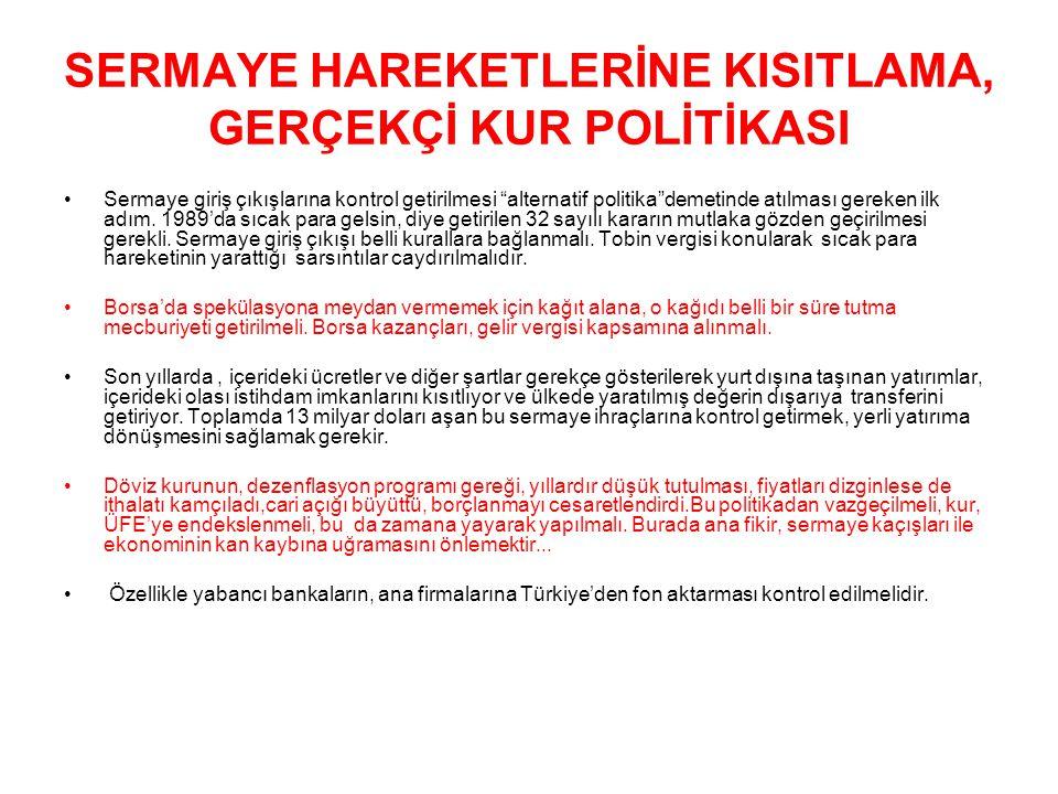 SERMAYE HAREKETLERİNE KISITLAMA, GERÇEKÇİ KUR POLİTİKASI