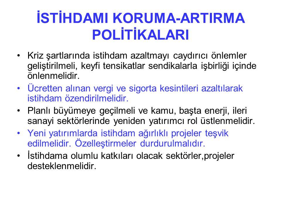 İSTİHDAMI KORUMA-ARTIRMA POLİTİKALARI